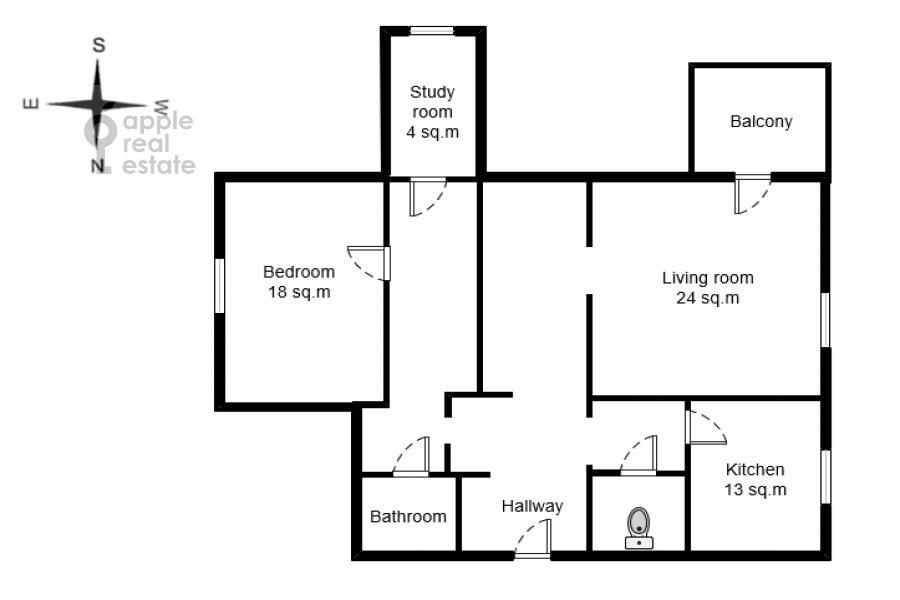 Поэтажный план 2-комнатной квартиры по адресу Лесная улица 4с1