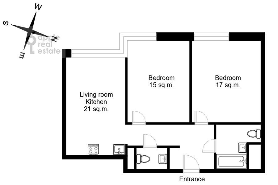 Поэтажный план 3-комнатной квартиры по адресу Докучаев переулок 2с3