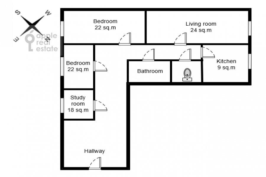 Поэтажный план 4-комнатной квартиры по адресу площадь Победы 1б