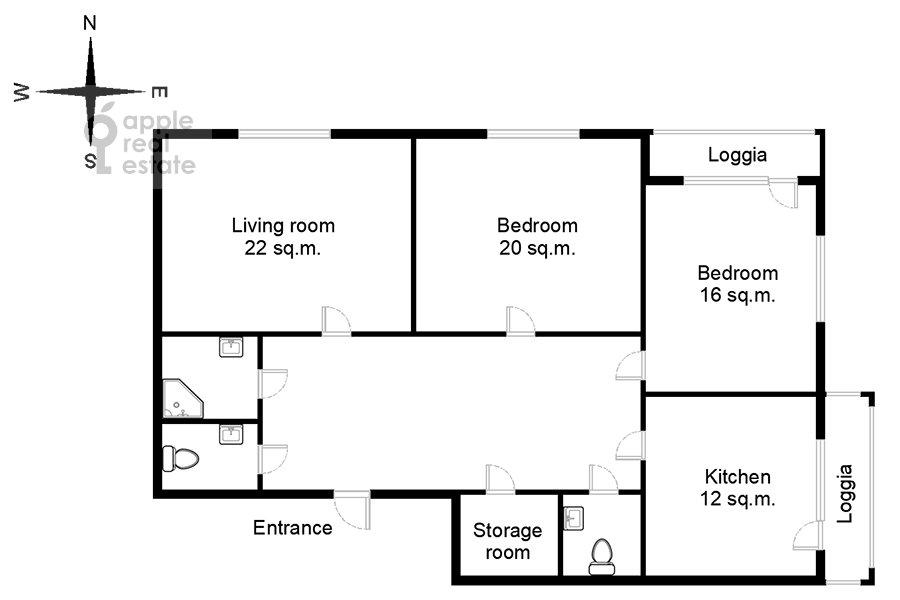 Floor plan of the 3-room apartment at 3-ya Filevskaya ulitsa 6k2