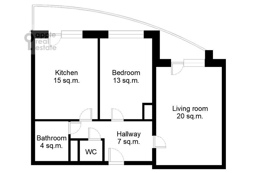 Floor plan of the 2-room apartment at Bol'shaya Filevskaya ulitsa 16k1