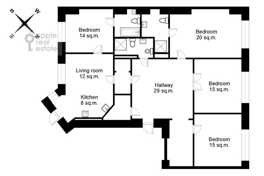 Поэтажный план 5-комнатной квартиры по адресу Староконюшенный переулок 41С2