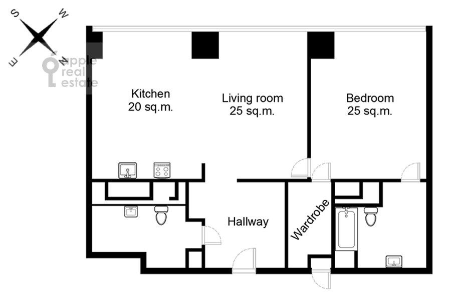 Поэтажный план 2-комнатной квартиры по адресу 1-й Красногвардейский проезд 15