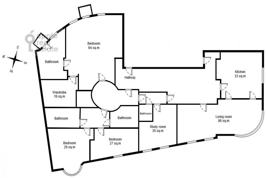Floor plan of the 5-room apartment at Malaya Bronnaya ulitsa 44