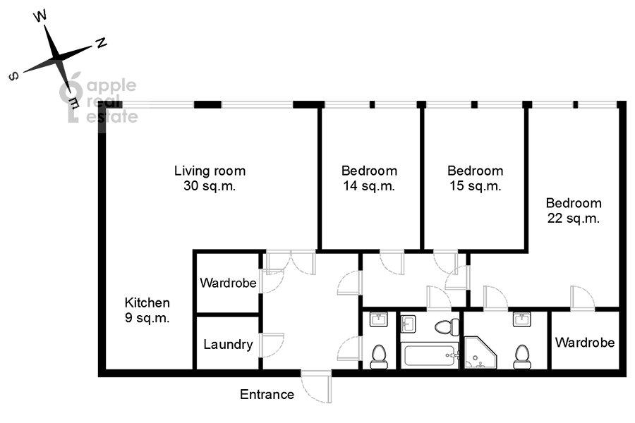 Floor plan of the 4-room apartment at Leninskiy prospekt 95B