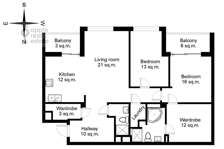 Поэтажный план 3-комнатной квартиры по адресу Мытная улица 7с1