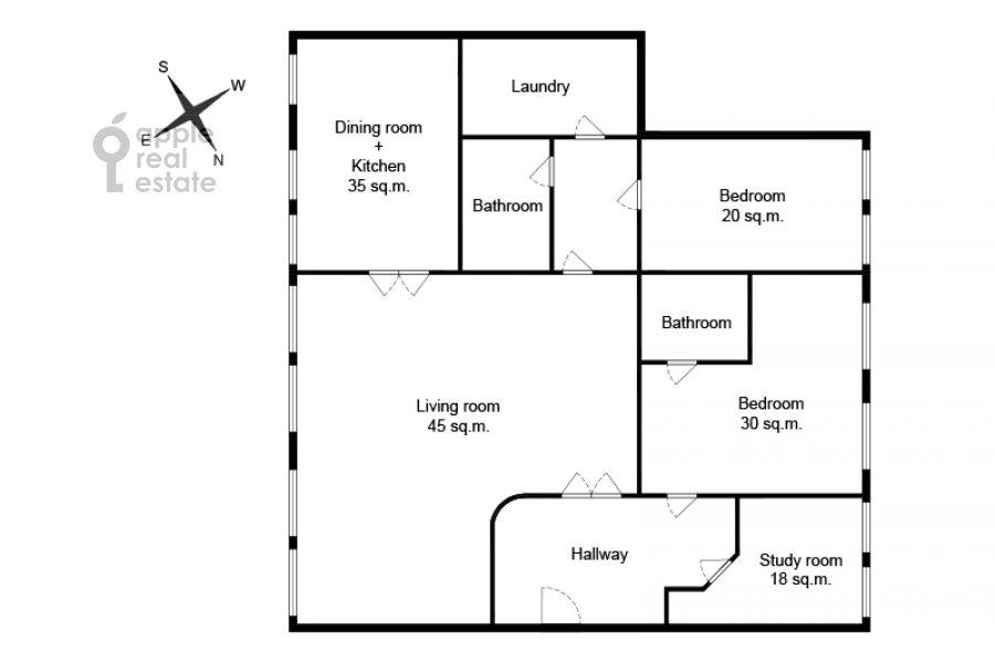 Floor plan of the 4-room apartment at Nikitskiy bul'var 15/16