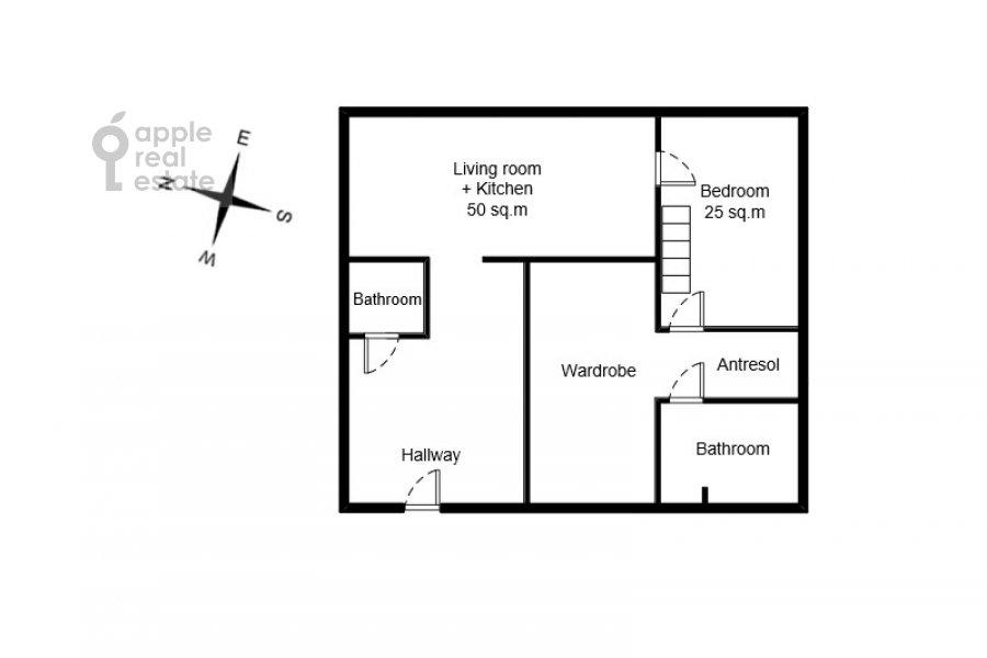 Floor plan of the 2-room apartment at Starokonyushennyy pereulok 45