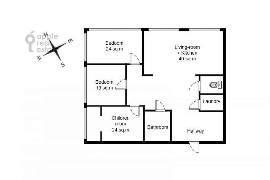 Floor plan of the 4-room apartment at 1-ya Myasnikovskaya ulitsa 2