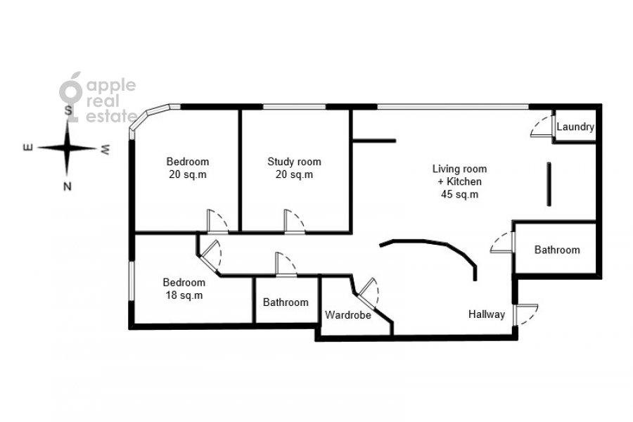 Поэтажный план 4-комнатной квартиры по адресу Грохольский переулок 28