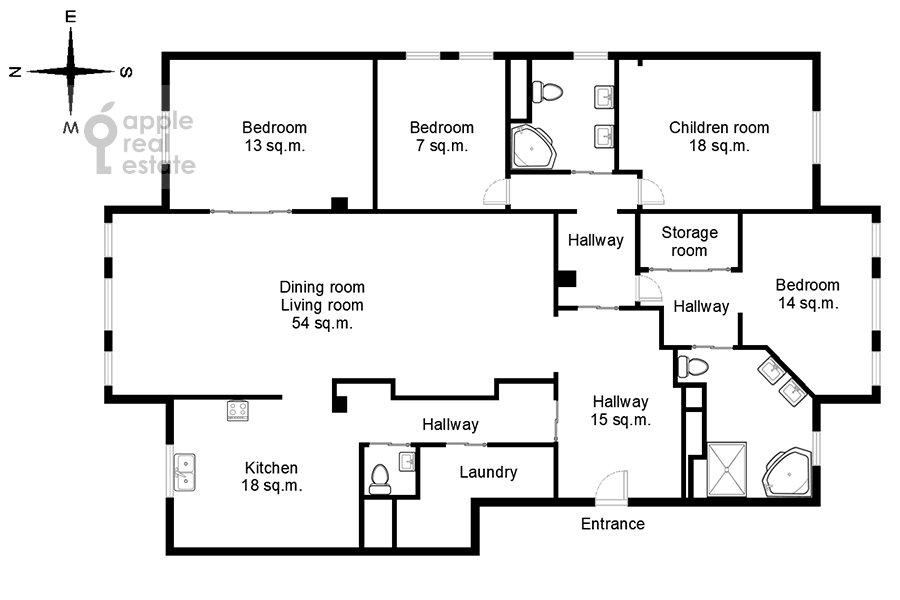 Floor plan of the 5-room apartment at Plotnikov pereulok 21S1