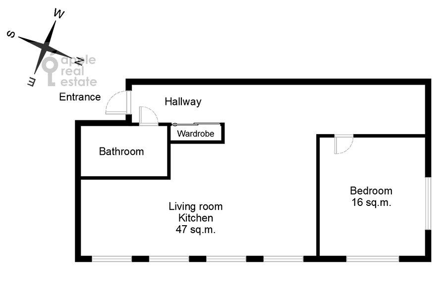 Поэтажный план 2-комнатной квартиры по адресу Павелецкая площадь 1
