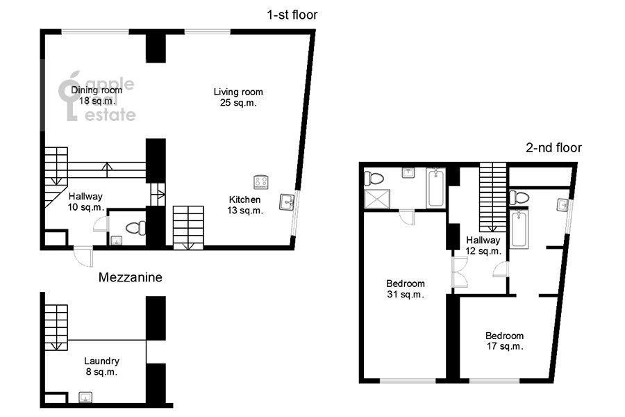 Поэтажный план 4-комнатной квартиры по адресу 3-й Кадашевский переулок 7-9С1