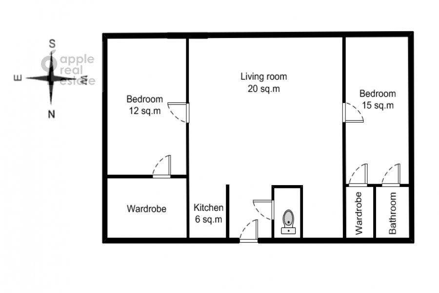 Floor plan of the 3-room apartment at Novyy Arbat 15