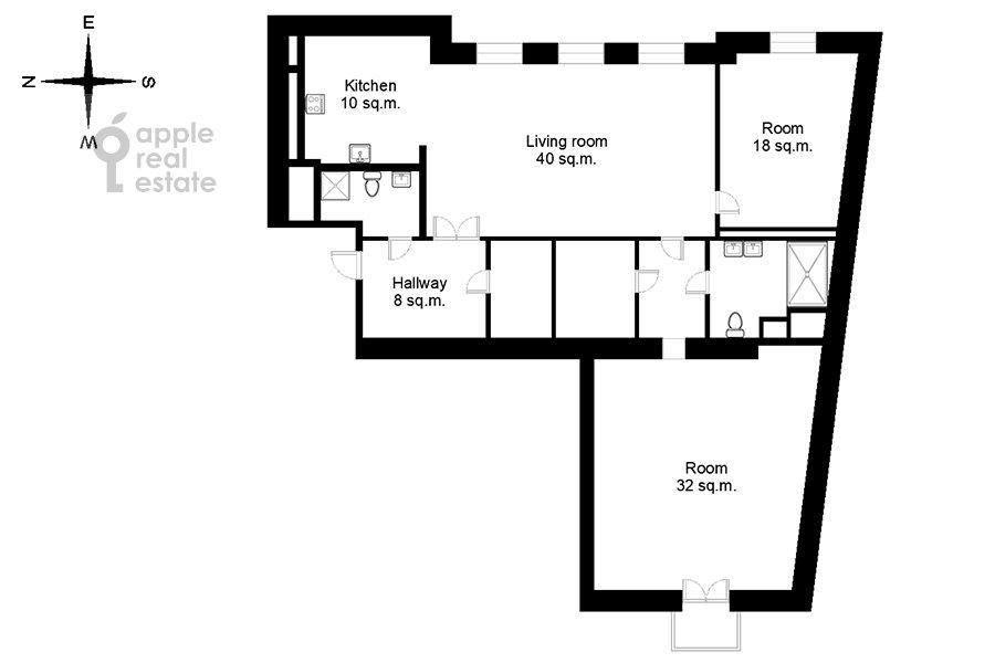 Floor plan of the 3-room apartment at Milyutinskiy pereulok 3