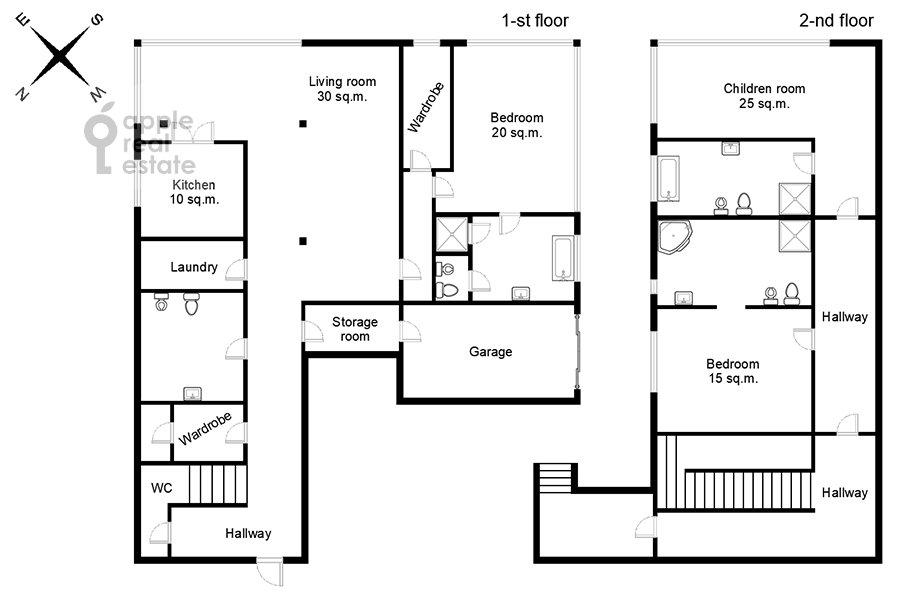 Поэтажный план 4-комнатной квартиры по адресу Островной проезд 5К1