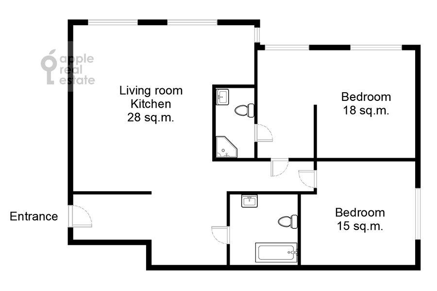 Floor plan of the 3-room apartment at Bumazhnyy proezd 4