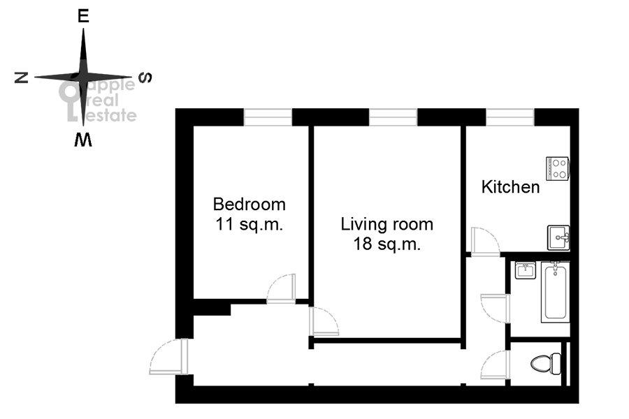 Floor plan of the 2-room apartment at ulitsa Gospital'nyy Val 5K18