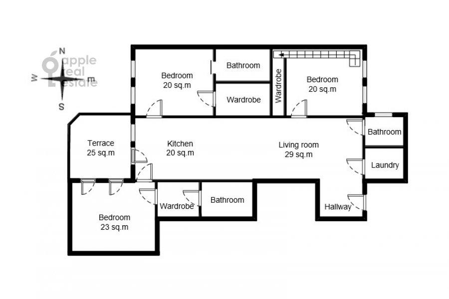 Floor plan of the 4-room apartment at Trubnikovskiy pereulok 11