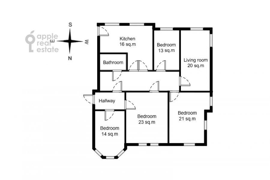 Поэтажный план 5-комнатной квартиры по адресу Колокольников переулок 10