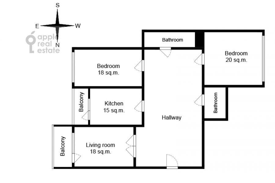 Floor plan of the 3-room apartment at Troitskaya ulitsa 9k1