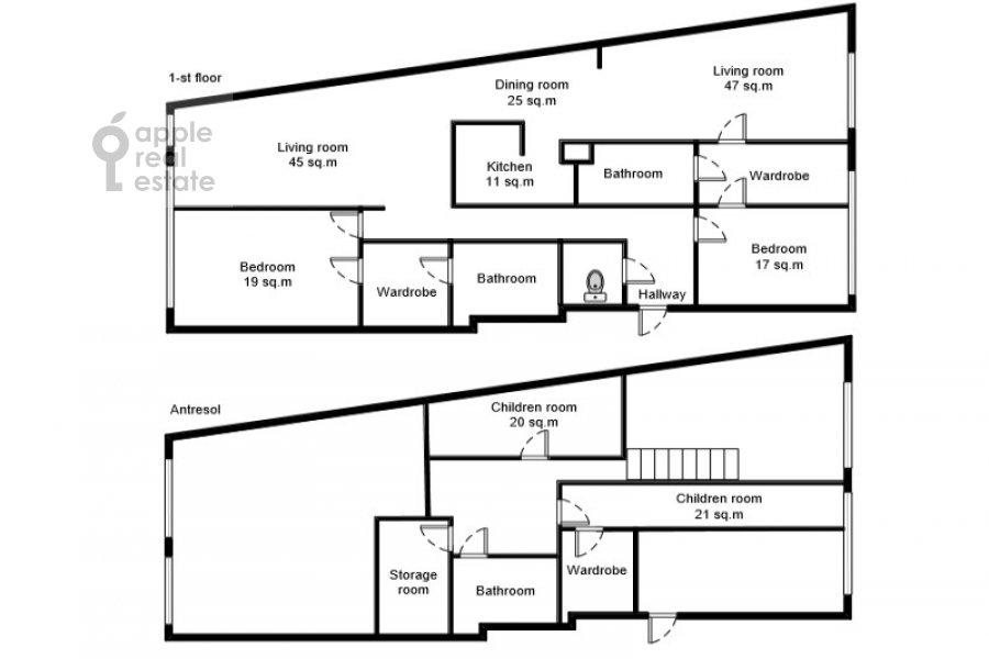 Floor plan of the 6-room apartment at Usacheva ulitsa 11k