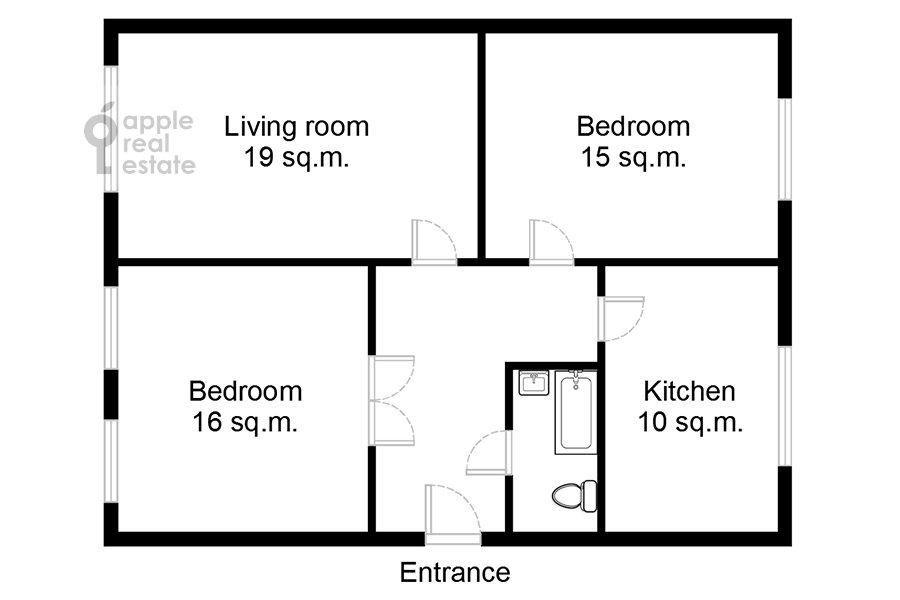Поэтажный план 3-комнатной квартиры по адресу Студенческая улица 19к4