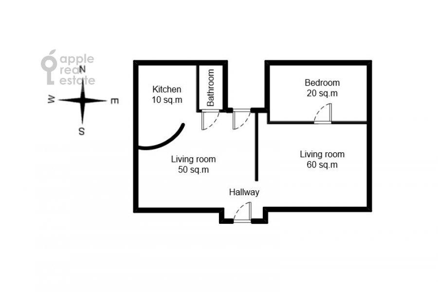 Floor plan of the studio apartment at Dolgorukovskaya ul 29