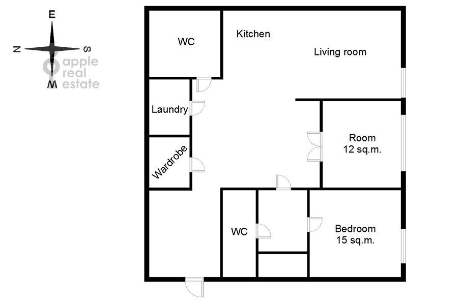Floor plan of the 3-room apartment at prospekt Mira 102s12