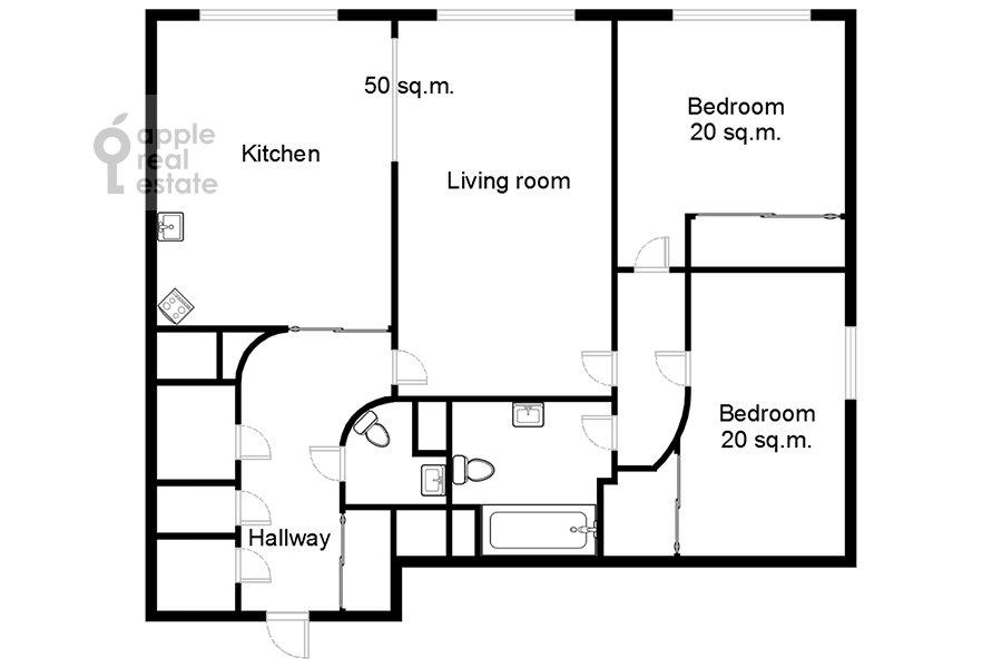 Поэтажный план 3-комнатной квартиры по адресу Расплетина 21