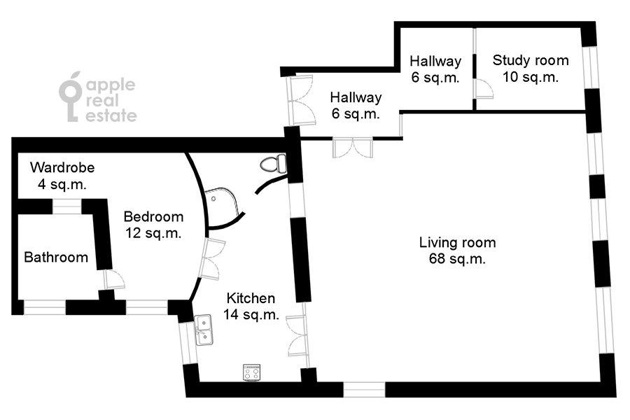 Поэтажный план 3-комнатной квартиры по адресу Пятницкая улица 17/4С1