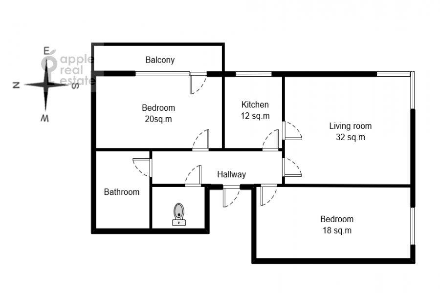 Floor plan of the 3-room apartment at Udal'tsova 17k1