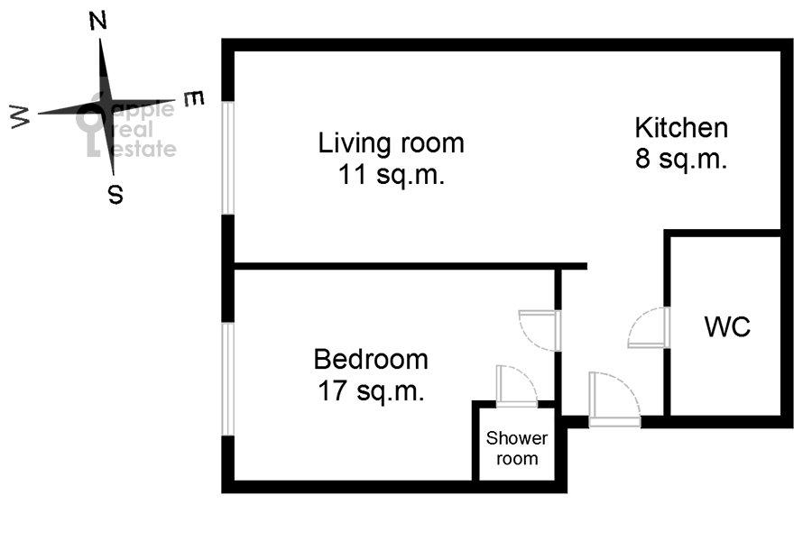 Floor plan of the 2-room apartment at Khodynskaya ulitsa 2
