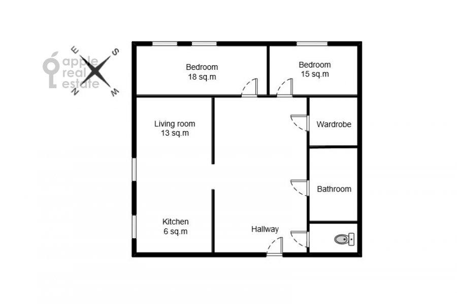 Floor plan of the 3-room apartment at Kazarmennyy pereulok 10S2