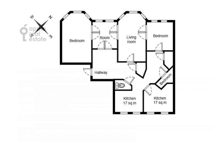 Поэтажный план 5-комнатной квартиры по адресу Малая Молчановка 8с2