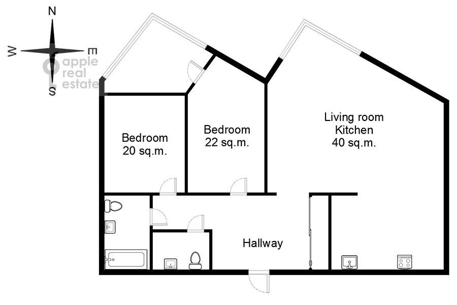 Floor plan of the 3-room apartment at Ruzheynyy pereulok 3