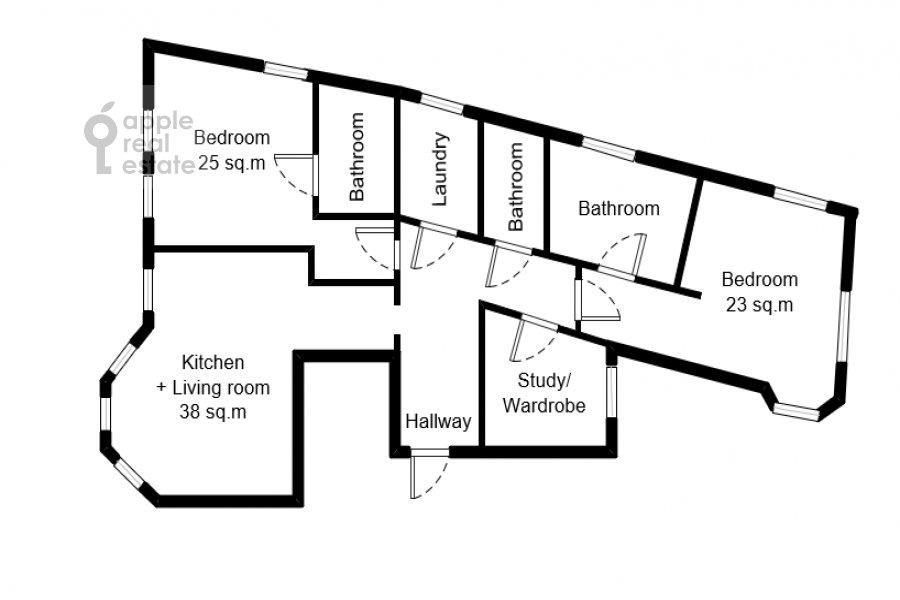Поэтажный план 4-комнатной квартиры по адресу Большая Полянка ул 44
