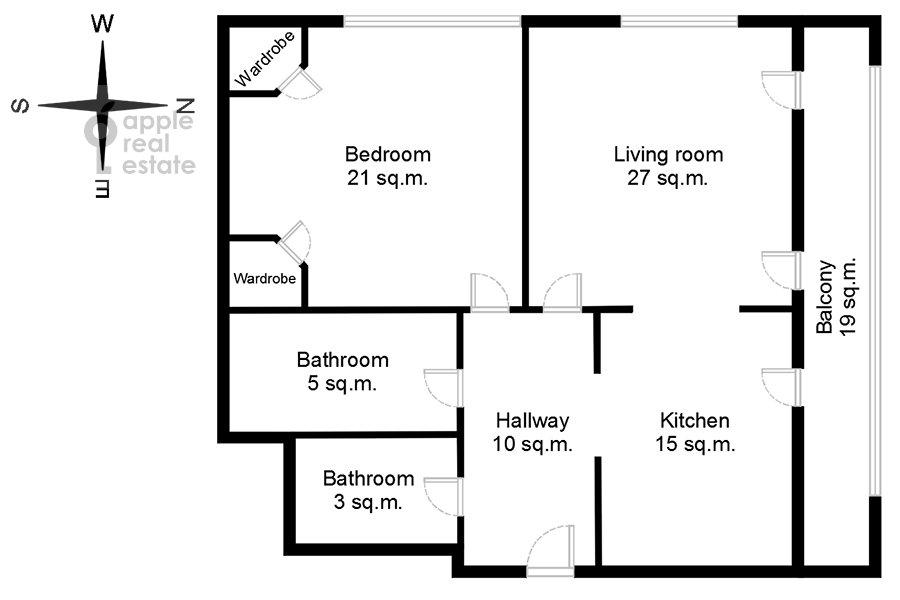 Поэтажный план 2-комнатной квартиры по адресу Фадеева, 4А