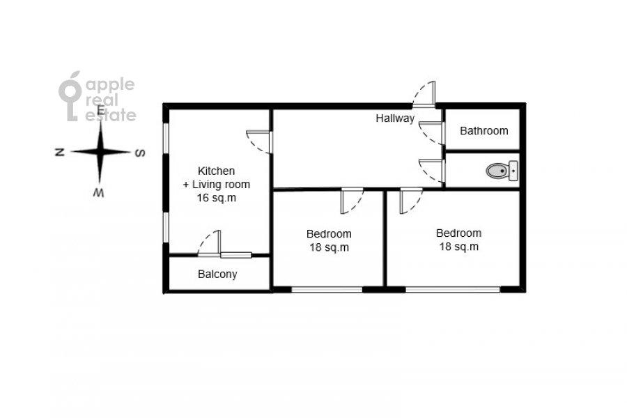 Поэтажный план 2-комнатной квартиры по адресу Новочеремушкинская улица 17