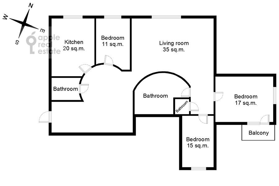Поэтажный план 4-комнатной квартиры по адресу Большая Бронная улица 19