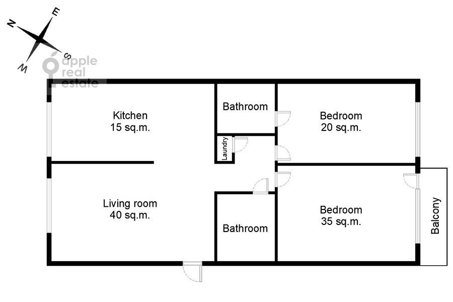 Floor plan of the 3-room apartment at Kazarmennyy pereulok 3