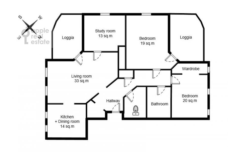 Поэтажный план 4-комнатной квартиры по адресу Милютинский пер. 3