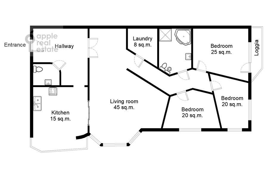 Поэтажный план 4-комнатной квартиры по адресу Зоологическая улица 30С2