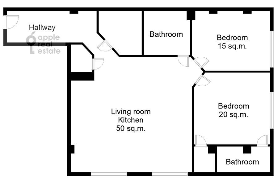 Поэтажный план 3-комнатной квартиры по адресу Большая Садовая улица 5к1