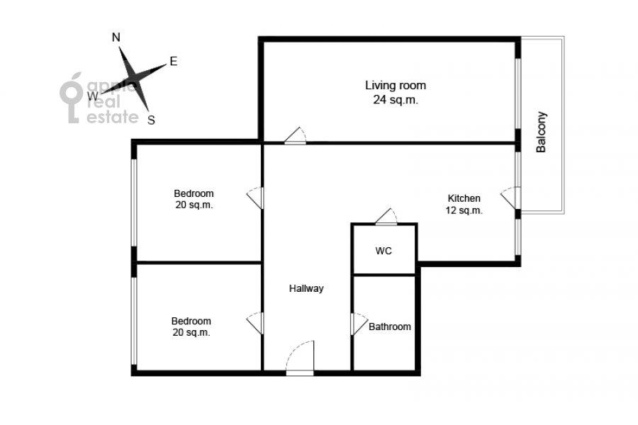 Поэтажный план 3-комнатной квартиры по адресу Новорязанская улица 30