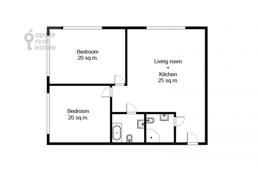 Floor plan of the 3-room apartment at Kronshtadtskiy bul'var 6 k3