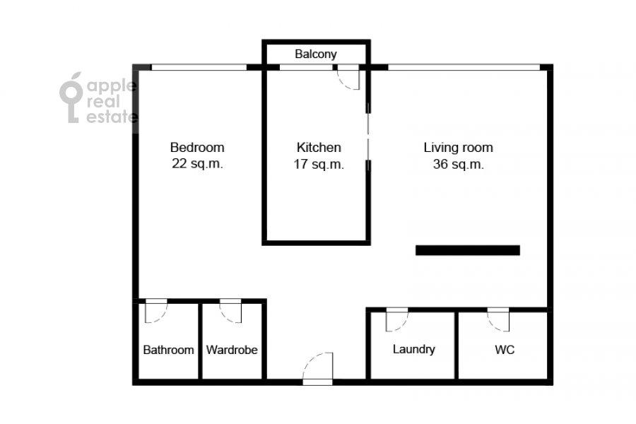Поэтажный план 2-комнатной квартиры по адресу Ленинский проспект 114