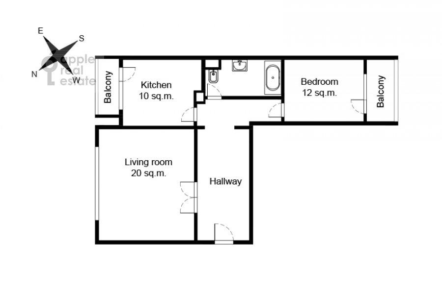 Поэтажный план 2-комнатной квартиры по адресу 3-й Балтийский переулок 6к2