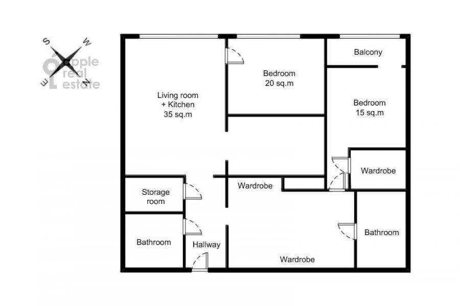 Поэтажный план 3-комнатной квартиры по адресу Усачева улица 2С3