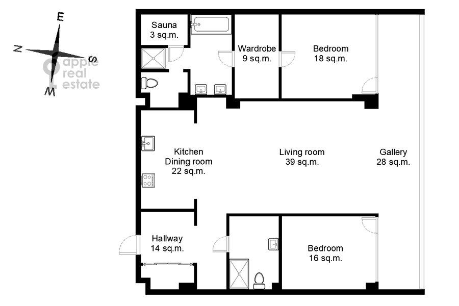 Floor plan of the 3-room apartment at Tsvetnoy bul'var 2